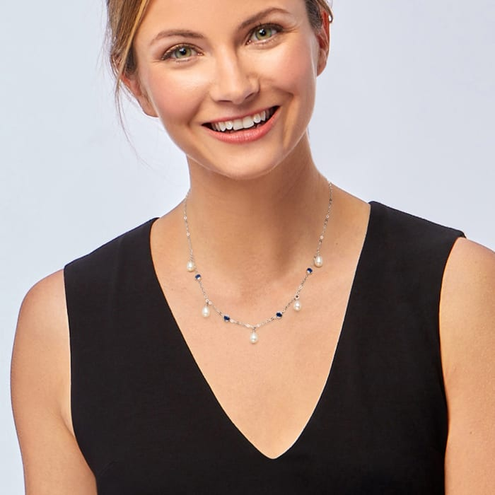 6x8mm Cultured Freshwater Pearl and 1.40 ct. t.w. Sapphire Station Necklace in Sterling Silver