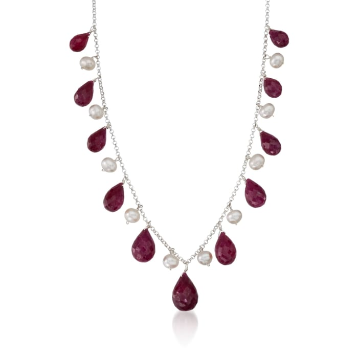 45.00 ct. t.w. Ruby and Cultured Pearl Drop Necklace in Sterling Silver