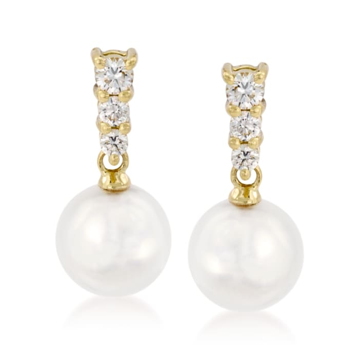 Mikimoto 8-8.5mm A+ Akoya Pearl Earrings with .29 ct. t.w. Diamonds in 18kt Yellow Gold