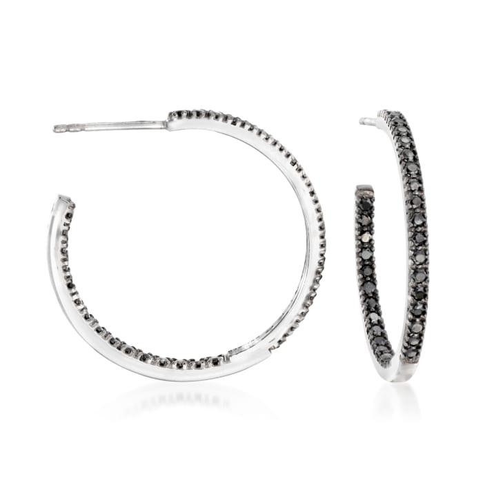 1.20 ct. t.w. Black Spinel Inside-Outside Hoop Earrings in Sterling Silver