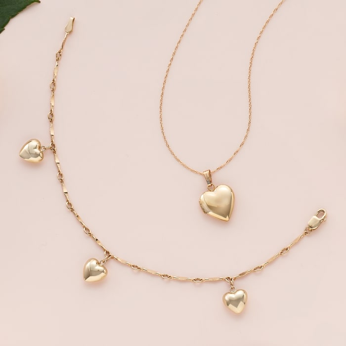 Child's 14kt Yellow Gold Heart Charm Bracelet