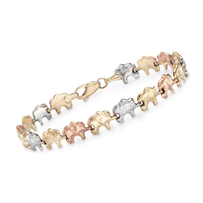14kt Tri-Colored Gold Elephant Bracelet