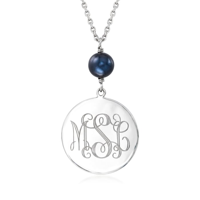 Sterling Silver Monogram Disc Necklace with 8-9mm Black Cultured Pearl