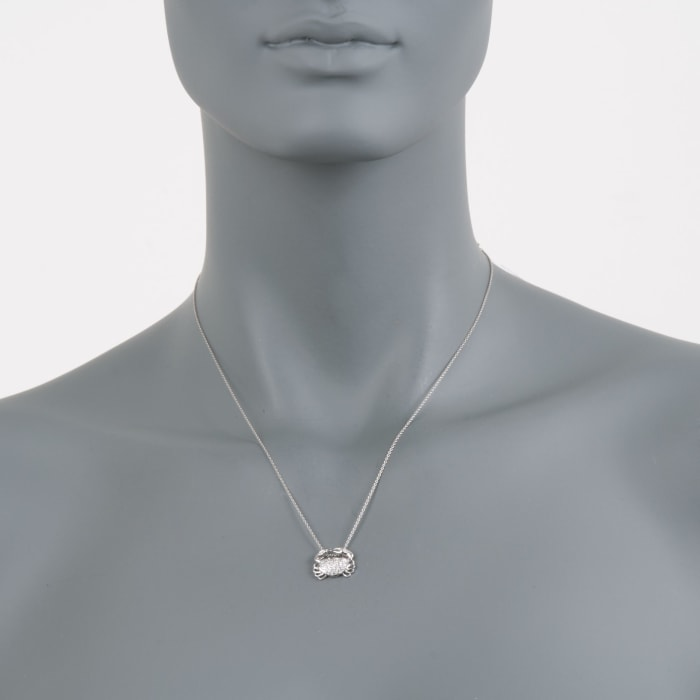 """Roberto Coin """"Tiny Treasures"""" .19 ct. t.w. Crab Diamond Necklace in 18kt White Gold"""