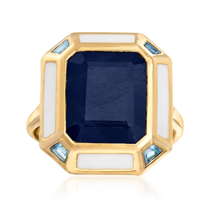 7.50 Carat Sapphire, .20 ct. t.w. Sky Blue Topaz and White Enamel Vintage-Style Ring in 18kt Gold Over Sterling