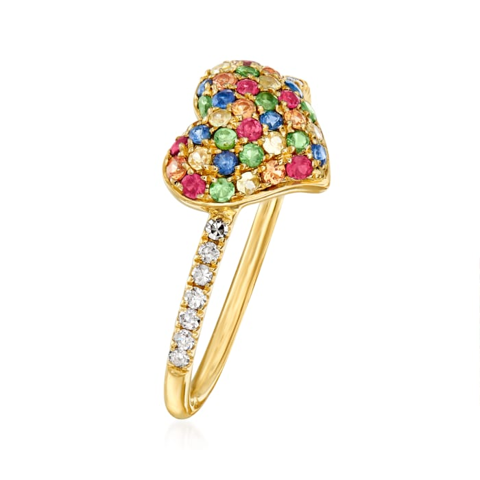 .50 ct. t.w. Multi-Gemstone Heart Ring with .10 ct. t.w. Diamonds in 14kt Yellow Gold