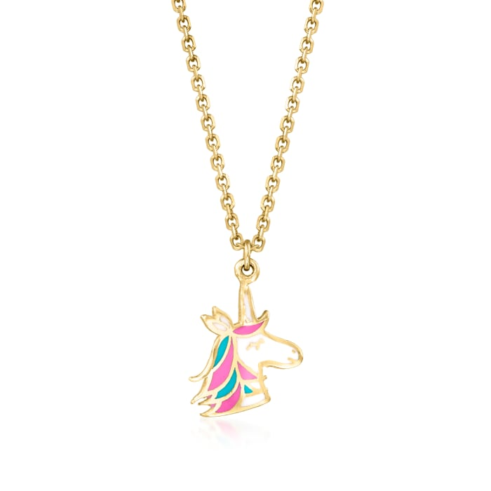 Child's 14kt Yellow Gold Unicorn Pendant Necklace with Multicolored Enamel