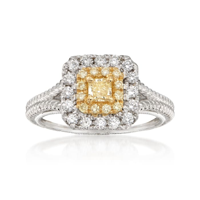 .73 ct. t.w. Yellow and White Diamond Ring in 18kt Two-Tone Gold