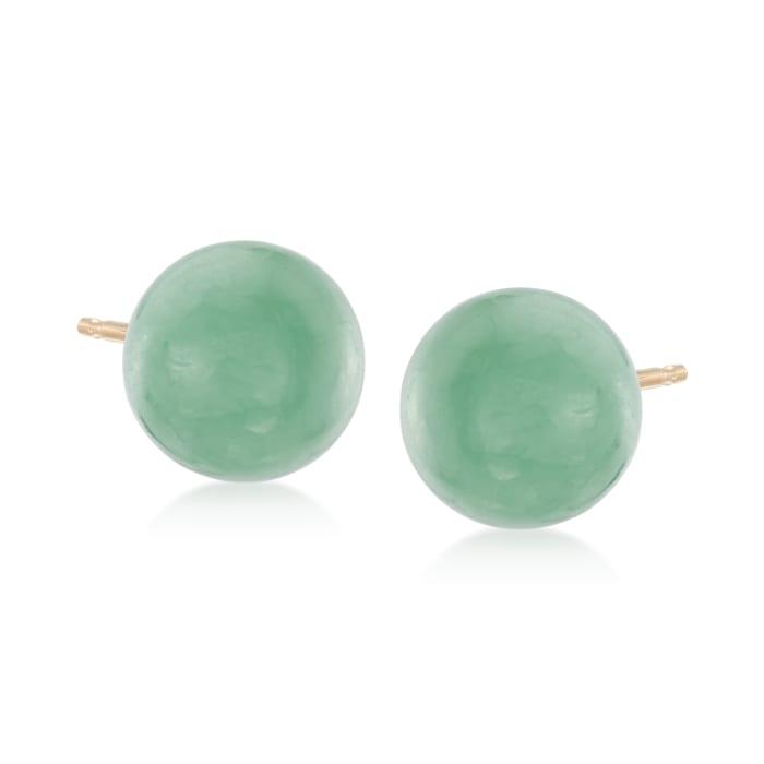 Jade Bead Stud Earrings in 14kt Yellow Gold
