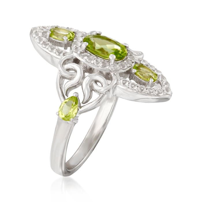 1.20 ct. t.w. Peridot and .30 ct. t.w. White Topaz Ring in Sterling Silver
