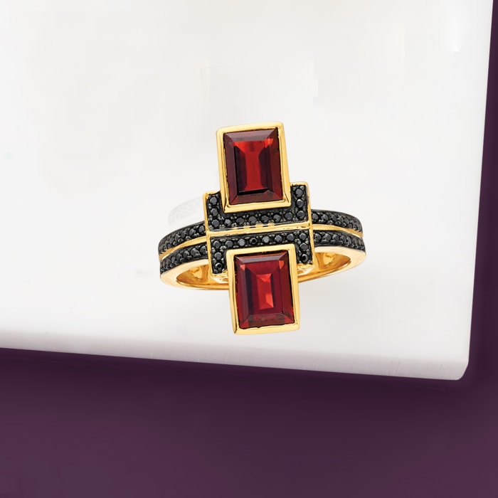 2.40 ct. t.w. Garnet and .10 ct. t.w. Black Spinel Ring in 18kt Gold Over Sterling