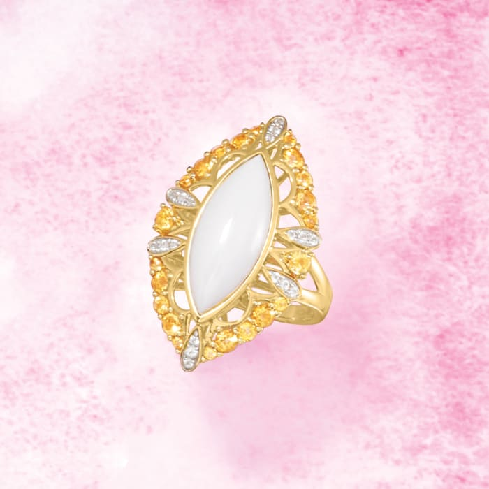 White Agate and .80 ct. t.w. Citrine Ring With. White Topaz Accents in 18kt Gold Over Sterling