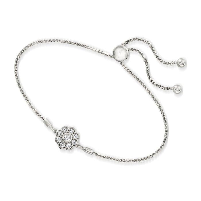 .50 ct. t.w. Diamond Flower Bolo Bracelet in Sterling Silver