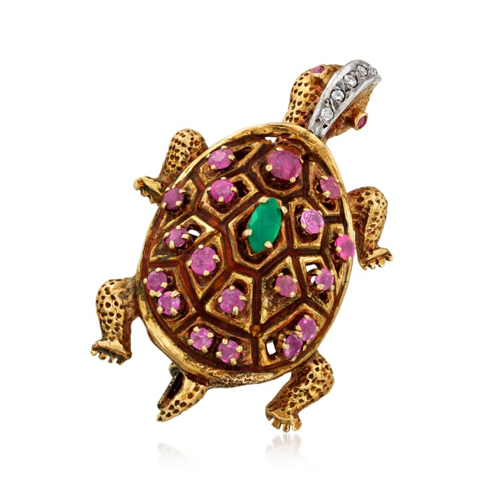 C. 1940 Vintage 1.20 ct. t.w. Ruby, .25 Carat Green Chalcedony and .10 ct. t.w. Diamond Turtle Pin in 14kt Yellow Gold