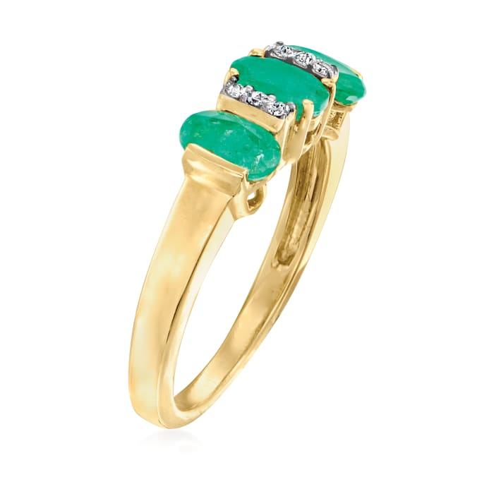 1.40 ct. t.w. Emerald Ring with Diamond Accents in 14kt Yellow Gold