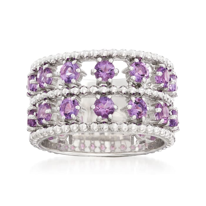 """Andrea Candela """"Cava"""" 2.20 ct. t.w. Amethyst Double-Row Ring in Sterling Silver"""
