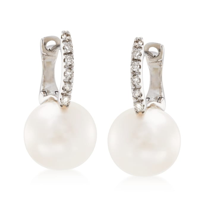8mm Cultured Pearl Hoop Drop Earrings with Diamond Accents in 14kt White Gold