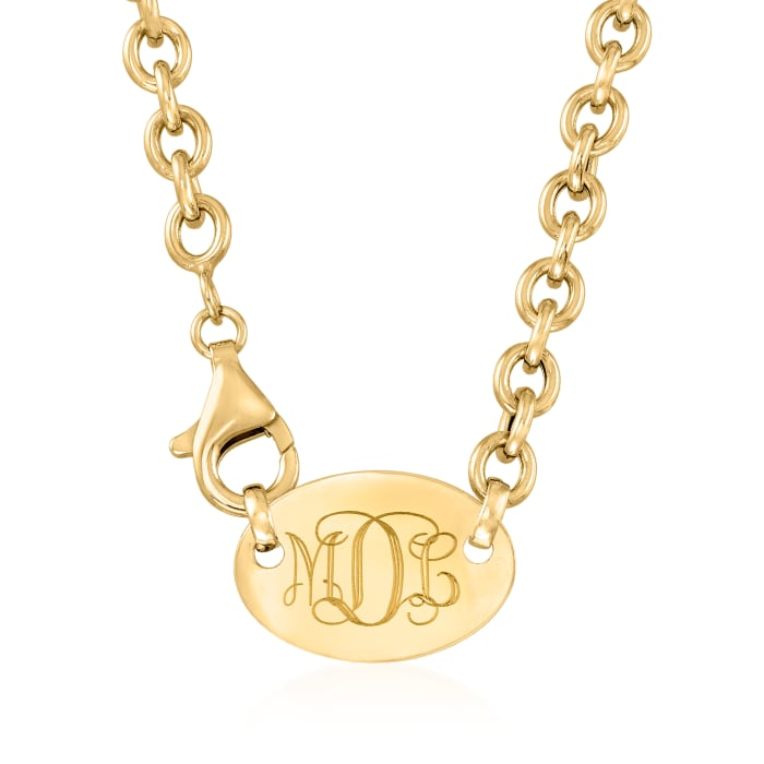 14kt Yellow Gold Monogram Oval Necklace