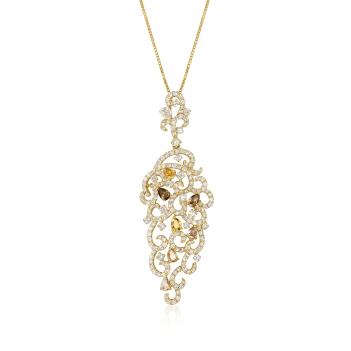 C. 2000 Vintage 4.93 ct. t.w. Multicolored Diamond Swirl Pendant Necklace in 18kt Yellow Gold
