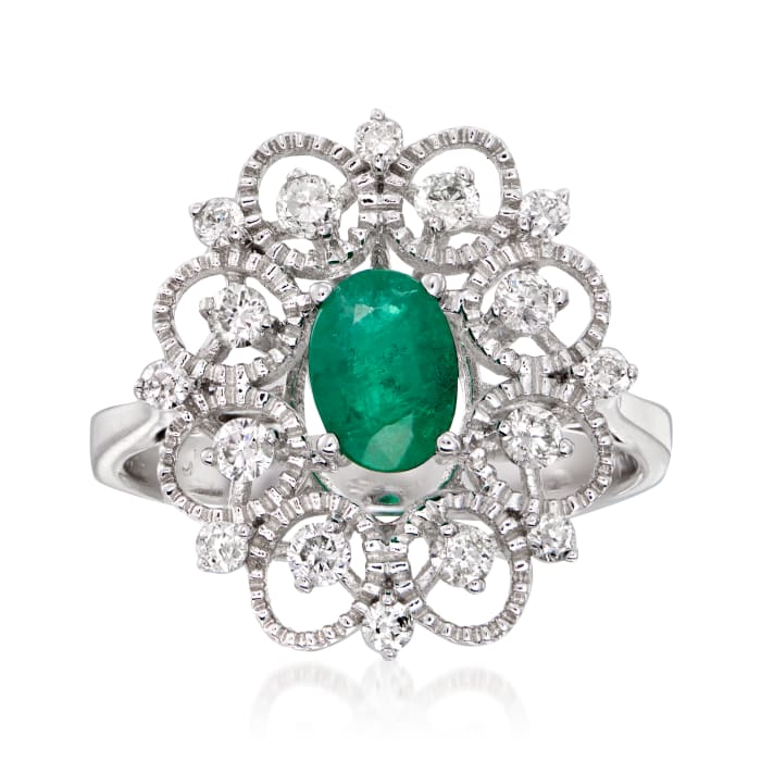 .80 Carat Emerald and .44 ct. t.w. Diamond Halo Ring in 14kt White Gold