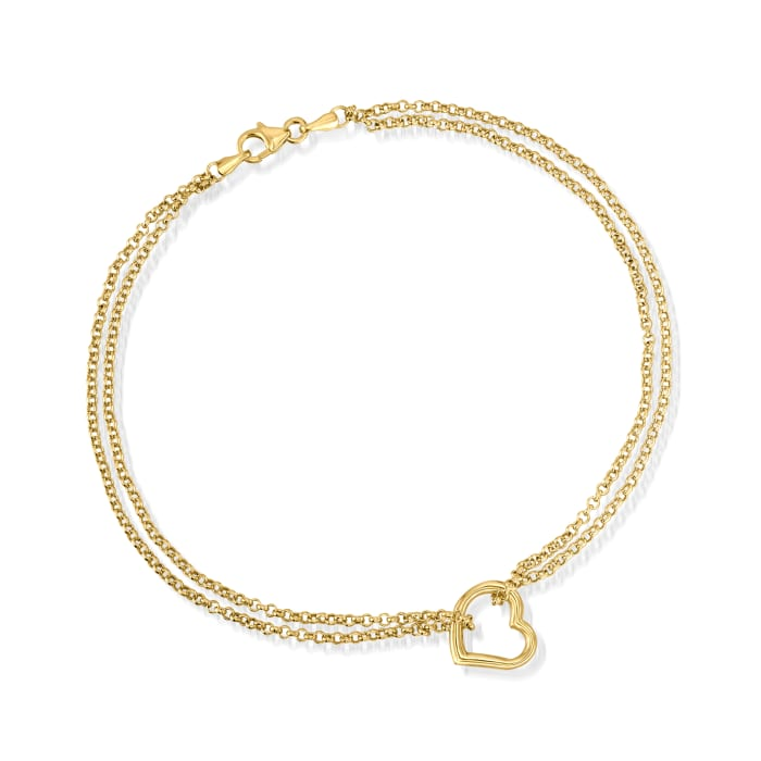 14kt Yellow Gold Two-Strand Heart Center Anklet