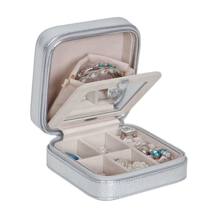 Mele & Co. Metallic Silver Faux Leather Travel Jewelry Box