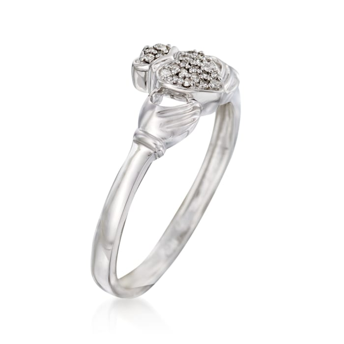 14kt White Gold Claddagh Ring with Diamond Accents
