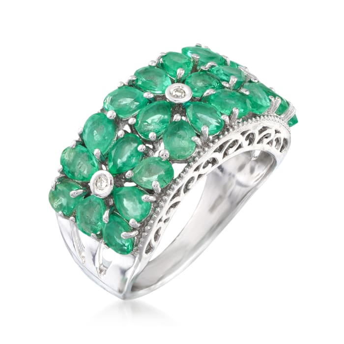 3.10 ct. t.w. Emerald Floral Ring with Diamond Accents in Sterling Silver