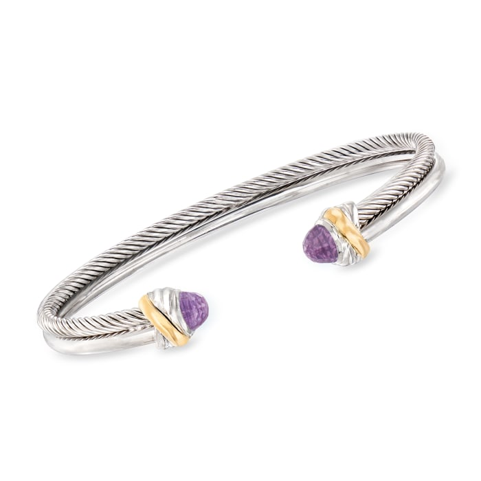 """Phillip Gavriel """"Italian Cable"""" .56 ct. t.w. Amethyst Cuff Bracelet in Sterling Silver and 18kt Yellow Gold"""