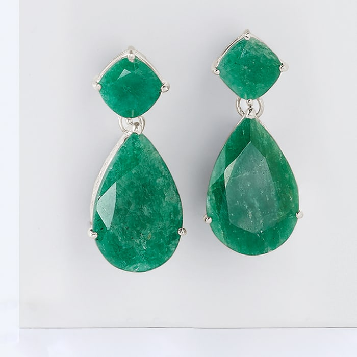 19.20 ct. t.w. Emerald Drop Earrings in Sterling Silver