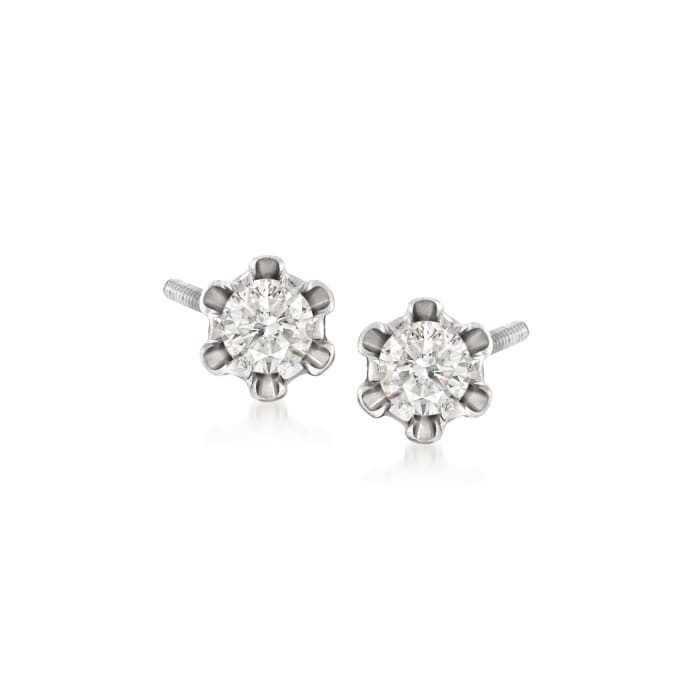 Child's .14 ct. t.w. Diamond Stud Earrings in 14kt White Gold