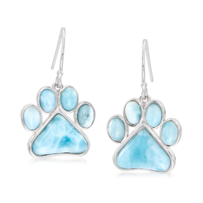 Larimar Paw Print Earrings in Sterling Silver
