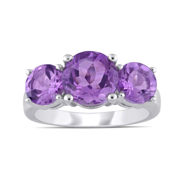 3.40 ct. t.w. Amethyst Three-Stone Ring in Sterling Silver