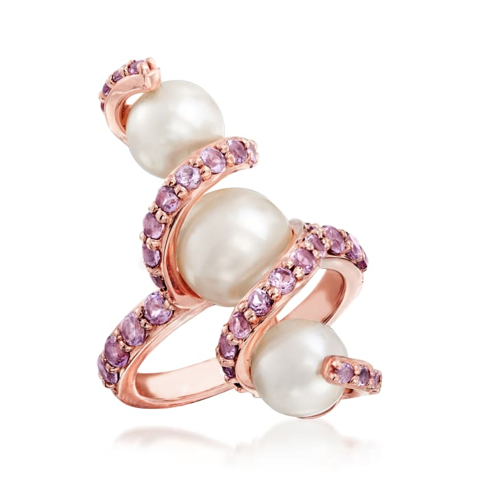 7-9mm Cultured Pearl and .90 ct. t.w. Amethyst Ring in 18kt Rose Gold Over Sterling Silver