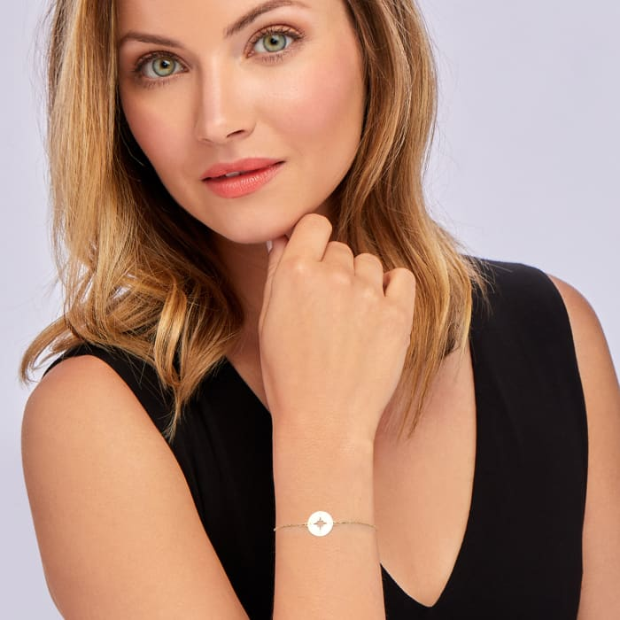 Italian 14kt Yellow Gold North Star Cut-Out Disc Bracelet