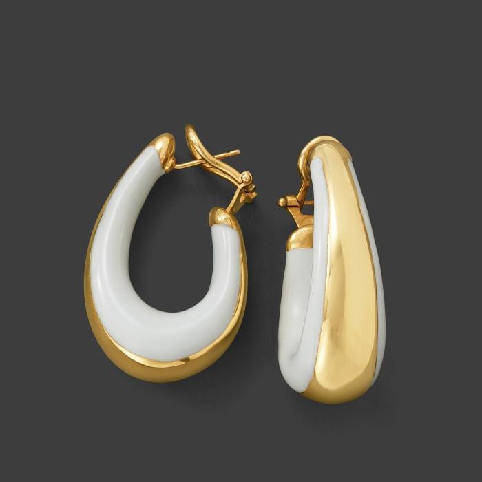 Italian 18kt Gold Over Sterling and White Enamel Hoop Earrings