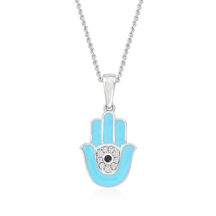 .10 ct. t.w. White Topaz Hamsa Hand Pendant Necklace in Sterling Silver with Blue Enamel and Black Spinel Accent