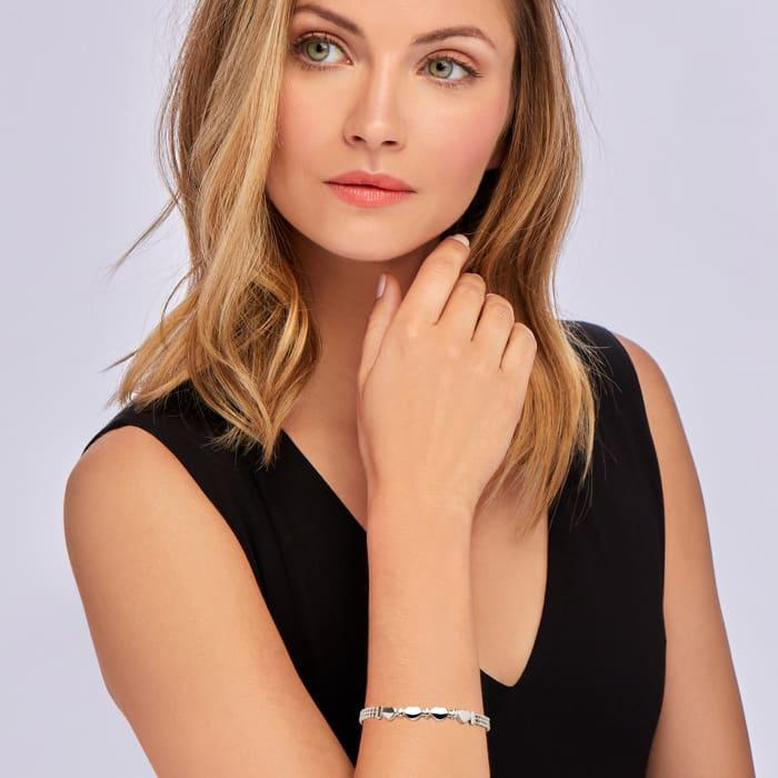 Italian Sterling Silver Heart Beaded Bracelet