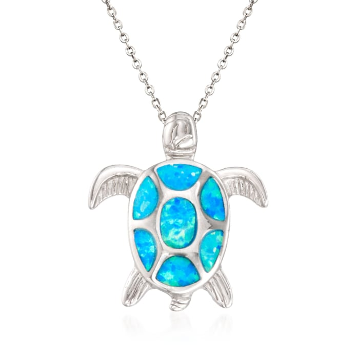 Blue Synthetic Opal Turtle Pendant Necklace in Sterling Silver