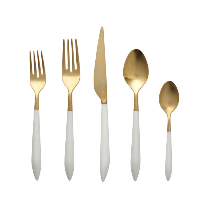 "Vietri ""Ares Oro"" White 5-pc. 18/10 Stainless Steel Place Setting from Italy"