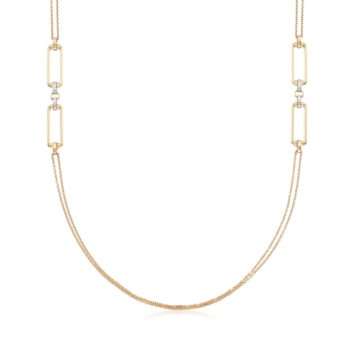 """Roberto Coin """"Parisienne"""" .55 ct. t.w. Diamond Double Chain Necklace in 18kt Yellow Gold"""