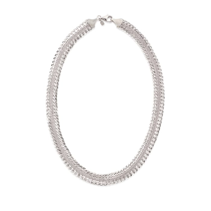 Italian Sterling Silver Curb-Link Mesh Necklace