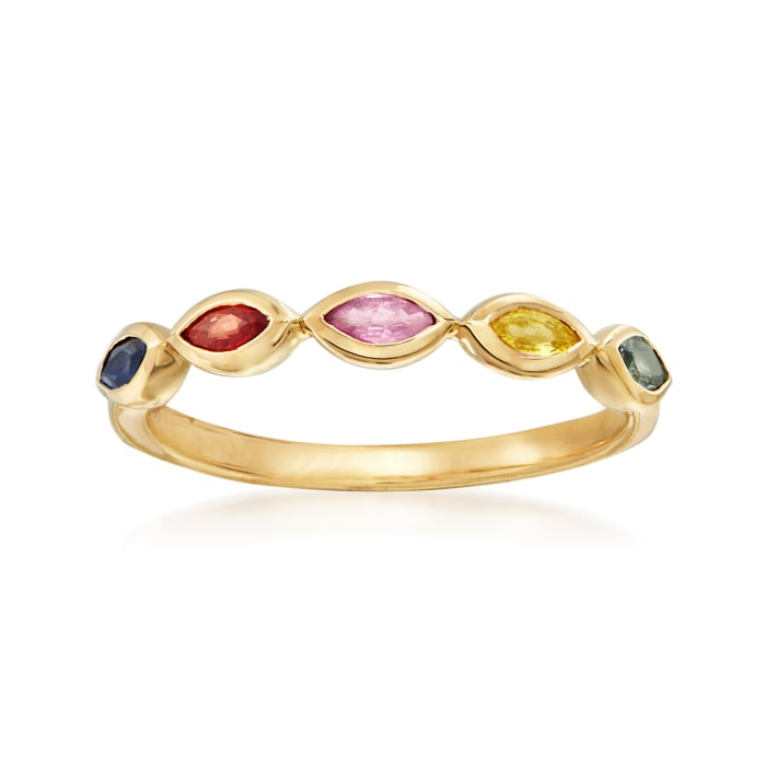 .40 ct. t.w. Multicolored Sapphire Ring in 14kt Yellow Gold
