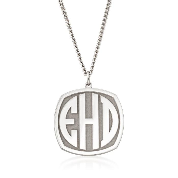 Men's Sterling Silver Monogram Pendant Necklace