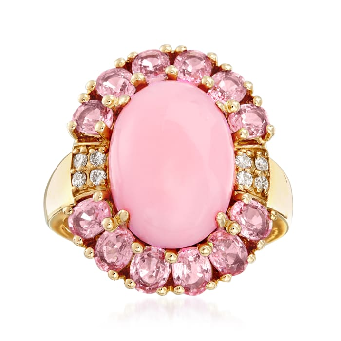 Pink Opal, 2.60 ct. t.w. Pink Sapphire and .10 ct. t.w. Diamond Ring in 14kt Yellow Gold