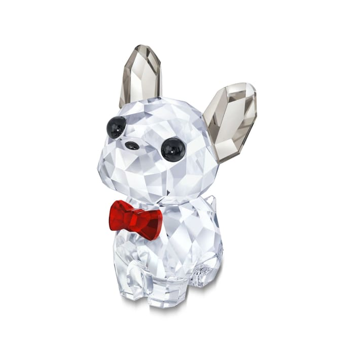 "Swarovski Crystal ""Puppy Bruno the French Bulldog"" Clear and Red Crystal Figurine"