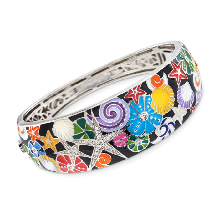 "Belle Etoile ""Starfish"" Black and Multicolored Enamel Bangle Bracelet with CZs in Sterling Silver"