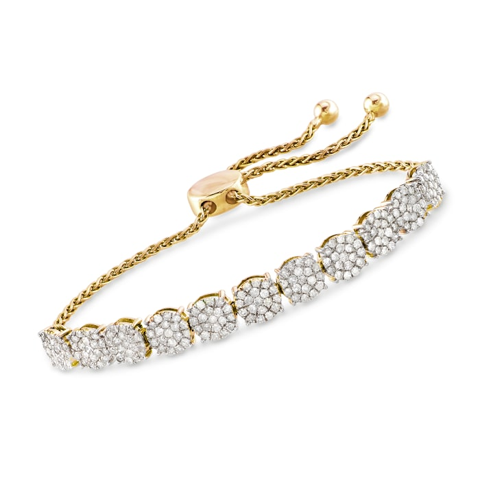 2.00 ct. t.w. Diamond Cluster Bolo Bracelet in 18kt Gold Over Sterling