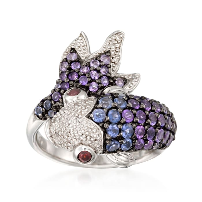 .90 ct. t.w. Amethyst and .40 ct. t.w. Iolite Koi Ring with Diamonds and Garnets in Sterling Silver