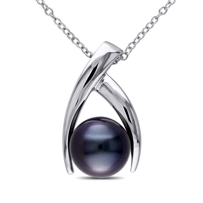 9.5-10mm Black Cultured Tahitian Pearl Pendant Necklace in Sterling Silver
